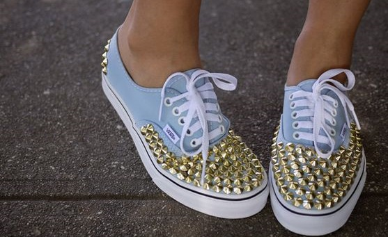gold or silver studs on your sneakers